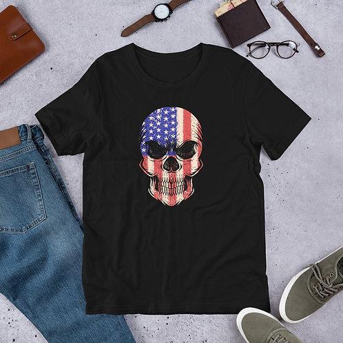 Skull drew with the American flag Short-Sleeve Men T-Shirt