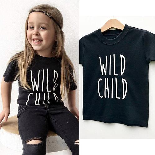 Wild Child Letter Print Girls Summer Casual Tops Tshirt Children Fashion