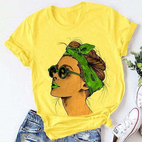 Yellow Plus Size T-Shirt Women Summer Vogue Print Lady Casual T Shirt