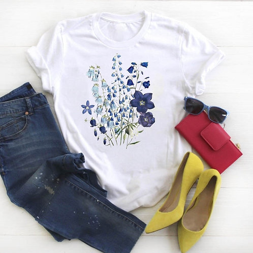 Women Shirt Womens Floral Summer Wild Plant Clothes Ladies Short Sleeve Kawaii
