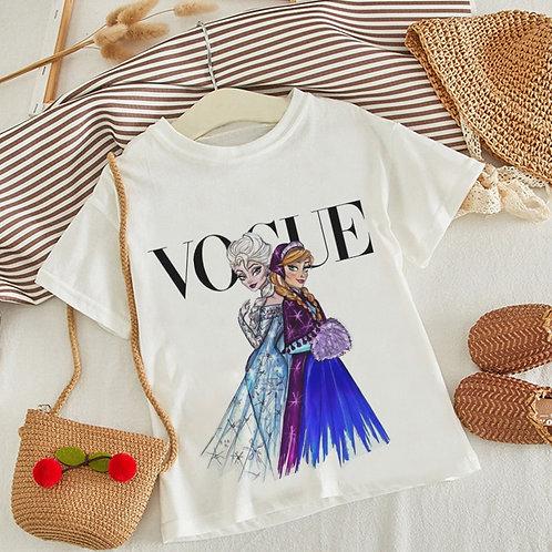 VOGUE New Arrival Princess Print Kids T Shirt Funny Kawaii Cartoon Girl Top