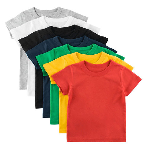 Kids Plain T Shirt Tops for Child Boys Girls Baby Toddler Summer Tees 1-8 Years