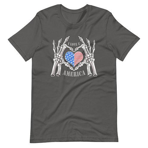 The phrase I love America between the hands of a skeleton Unisex T-Shirt