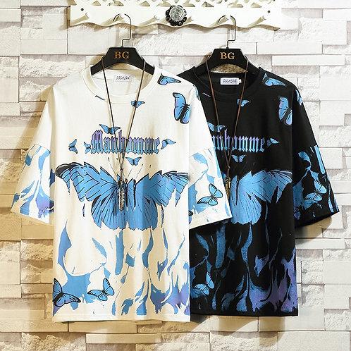Flame Butterfly Street Fashon T-Shirt Men 2020 Summer Crew Neck Men's Tshirt