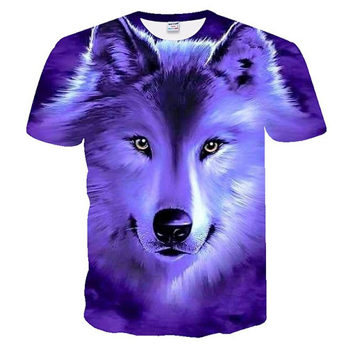 Hot Sale Men's T-Shirts 3D Printed Popular Top Wolf Pattern T-Shirt Wolf