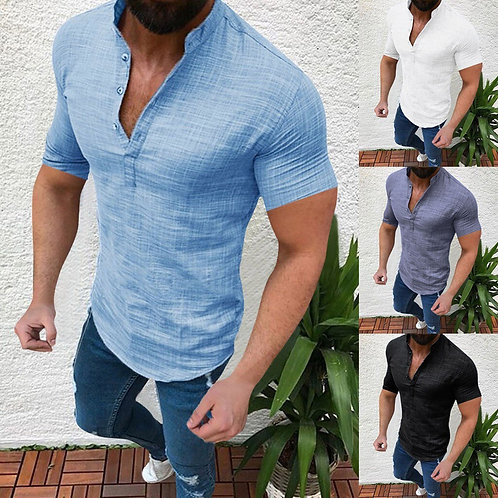 Men Casual  Cotton Linen Shirt Loose Tops Short Sleeve Tee Shirt S-2xl Spring