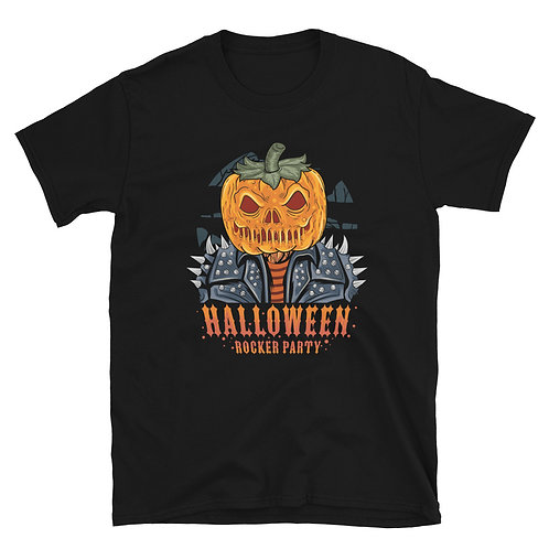 "Cool Pumpkin with a phrase "" Halloween Rocker Party "" Tshirt for women and men"