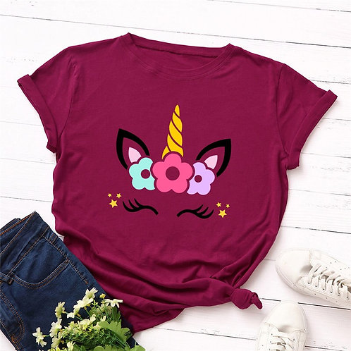 Fashion Summer Plus Size Women T-Shirt Cotton Tees Cute Unicorn Printed T Shirt