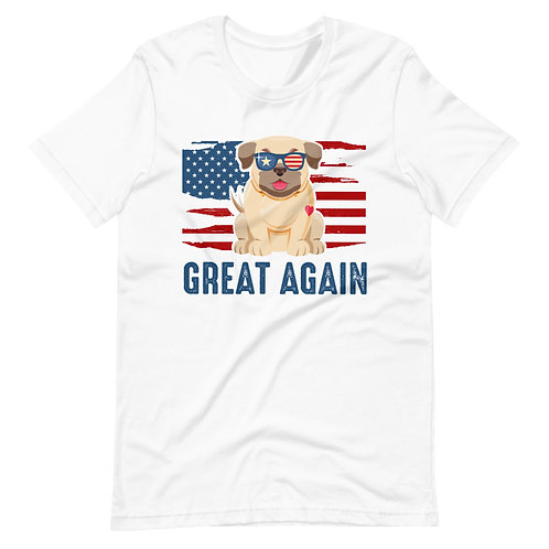 GREAT AGAIN Flag of America with a cute dog on national holidays occasions