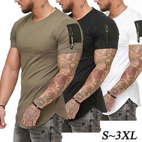 Short Sleeve Zipper Shoulder Streetwear Hip Hop Summer T Shirt Men Longline