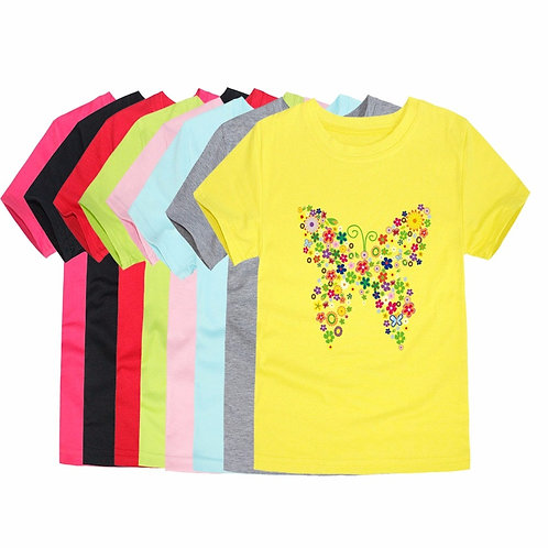 2020 Summer Brand New Baby Girls T Shirts Kids Butterfly Flower TShirts Children