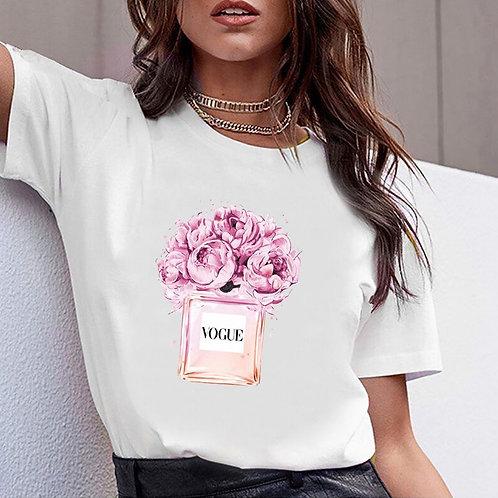 Women Clothes Print Flower Perfume Bottle Sweet Short Sleeve Tshirt Printed
