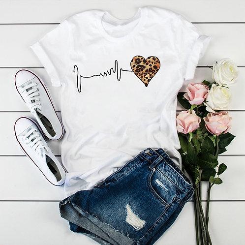 Women Leopard Heartbeat Short Sleeve Print Clothes Ladies Womens TShirt Graphic