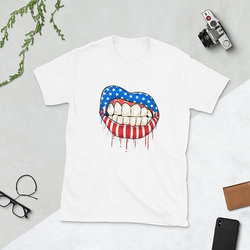 The flag of America, on the lips, the flag of America on the lips women T-Shirt