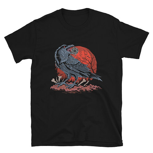 Halloween crow on bones and blood, the five-pointed star pendant Unisex T-Shirt
