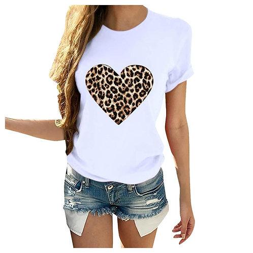 Plus Size Women TShirt 2020 Summer Leopard Heart Print TShirt Women Casual White