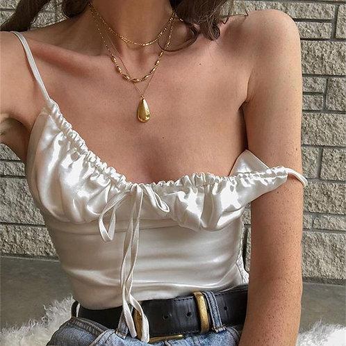 Elegant White Black Lace Up Chiffon Crop Tops Women Summer Fashion Camisole