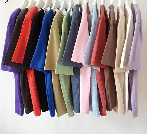 Jielur Tee Shirt 15 Solid Color Basic T Shirt Women