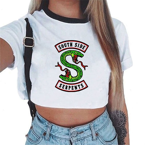 Women Fashion Riverdale South Side Serpents Printed Crop Top White TShirts Short