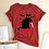 Thumbnail: Black Cat What Tshirt Murderous Cat Knife Women Funny TShirt Short  Halloween