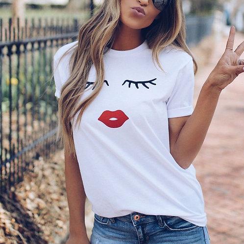 Pretty and Cute Eye Lashes Red Lips Print Women T-Shirt  Summer Casual T-Shirt