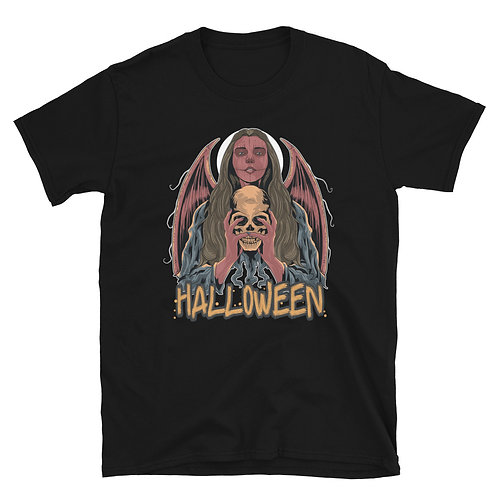 Halloween woman with bat wings, skull and scary Halloween phrase Unisex T-Shirt
