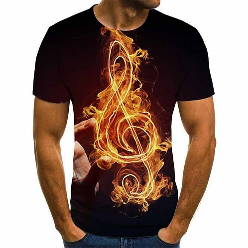 New 3d Print TShirt Men Women  Guitar Musical Note  Short Sleeve Fashion T-Shirt
