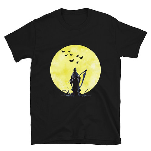 Halloween horror and lunar night with bats and a sickle Unisex T-Shirt