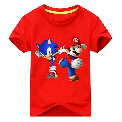 Boys Girls Shirt Children Super Mario Bros Luigi Tee Tops for Kids Short Sleeve