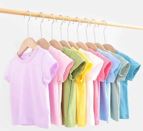 16 Colors Solid Children T-Shirt for Boys Girls Cotton Clothes 12M 24M 2-12 Y