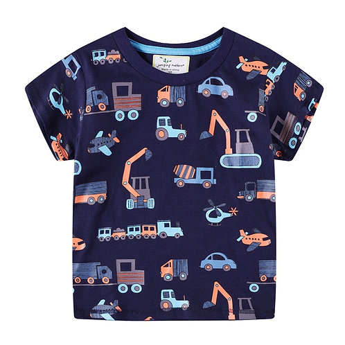 Jumping Meters Short Sleeve Cotton Kids Tops Tees With Cartoon Cars Boys