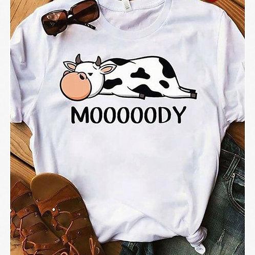 Mooooody Kawaii Cow Print Women's Top Women Tshirt Camisas Mujer Graphic Tees