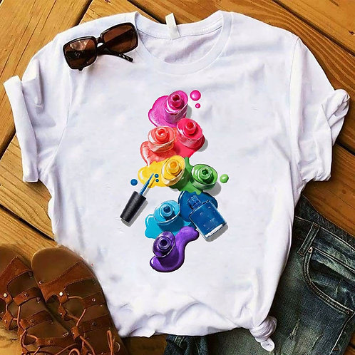 Womens Graphic 3D Finger Nail Paint Color Fashion Cute Printed Top Tshirt