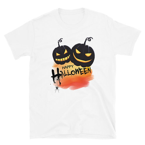 Happy Halloween phrase with a terrifying spider and pumpkin,Halloween Day TShirt