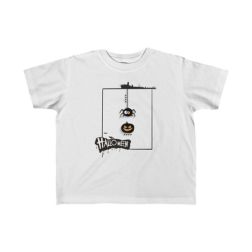 Halloween phrase with frame and spider, Halloween day, Kid's Fine Jersey Tee
