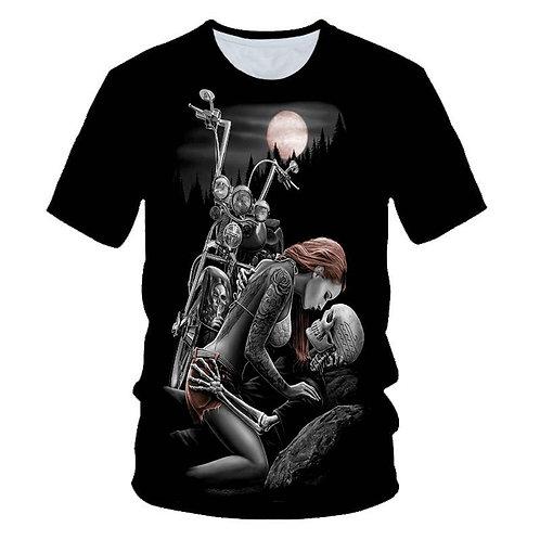 Skull Beauty Rock Cool 3D T-Shirt Men's Motorcycle Punk 3D Printed T-Shirt Men's