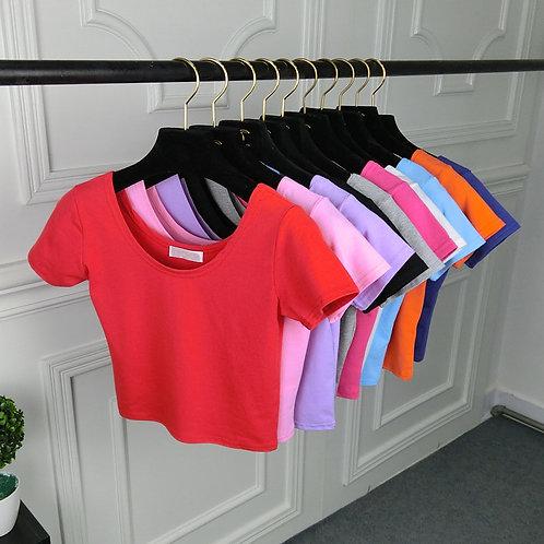 U Neck Sexy Crop Top Ladies Short Sleeve T Shirt Tee Basic Stretch TShirts Women