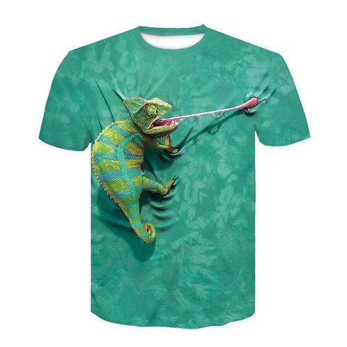 3D Digital Print Lizard Tongue Tshirt  Men Funny Hipster Hiphop Green