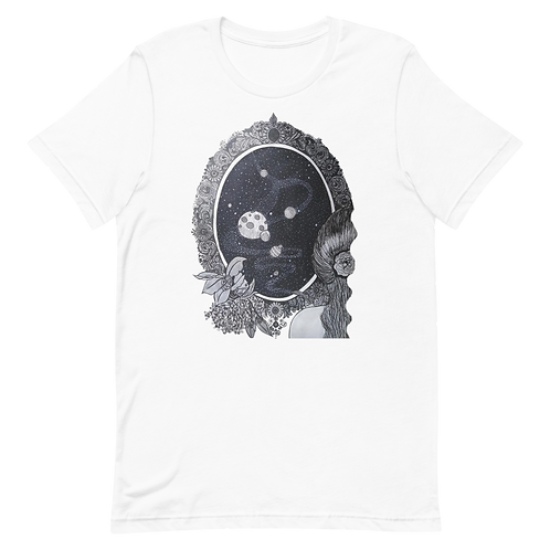 Hand drawing of a woman in front of a mirror reflecting outer space T-Shirt