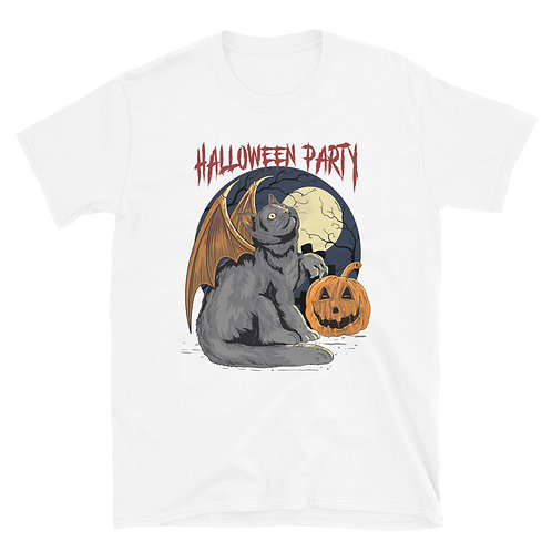 A cat with bat wings and a pumpkin, Halloween Party, Halloween Day Unisex TShirt