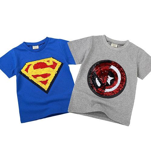 Summer Girls Boys Tshirts Children Reversible Sequins T Shirt Kids Unicorn .....