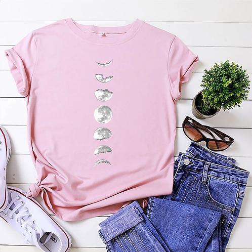 JFUNCY Plus Size Tshirt S-5xl New Moon Print Shirt Women 100% Cotton ONeck Short