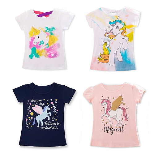 Fashion Unicorn Girls T-Shirt Children Short Sleeves White Tees