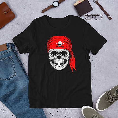 Scary skull with head tie Short-Sleeve Men T-Shirt