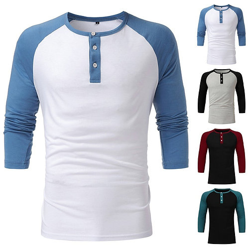 Mens Slim Fit Casual Patchwork Button 3/4 Sleeve ONeck TShirt Top Shirts for Men