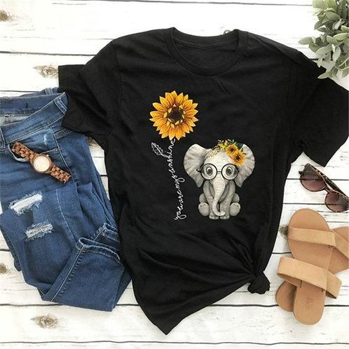 2020 Elephant Sunflower Print Tshirt Women Casual Short Sleeve O Neck Tee
