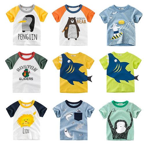 Summer Baby Boy Clothes Kids  Tshirt Shark Cartoon Print Children Tee Shirt