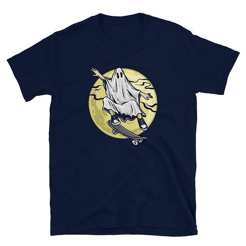 Ghost on Sled, Halloween Night, Halloween Day, Halloween Party Unisex T-Shirt