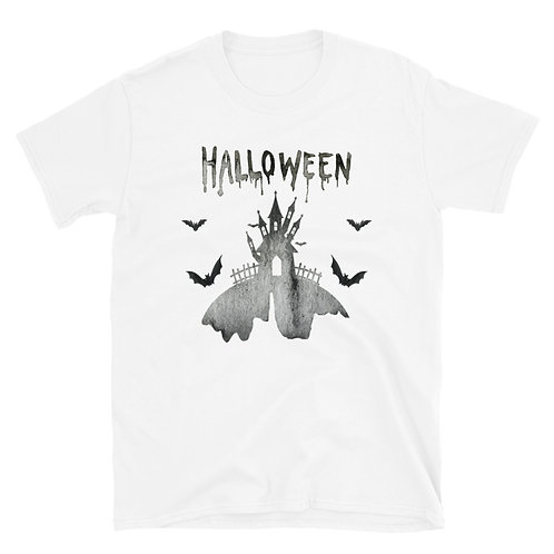 Halloween phrase with terrifying palace images and bats Unisex T-Shirt