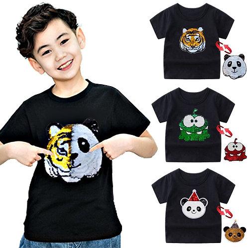 Panda Tiger Dinosaur Sequin Children TShirt for Boys Tshirts Kids TShirt Cartoon